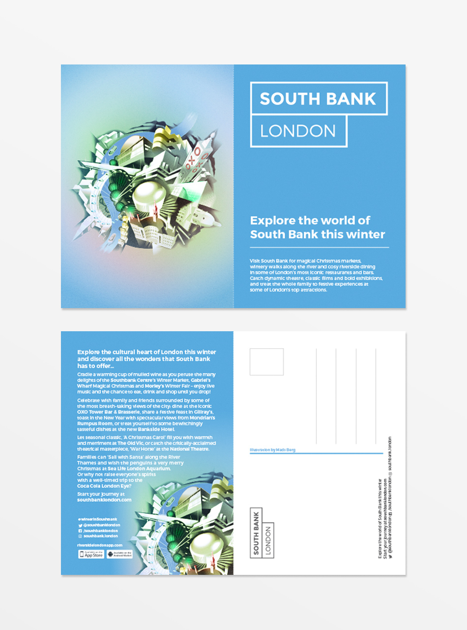 South Bank London Front and Back Postcards