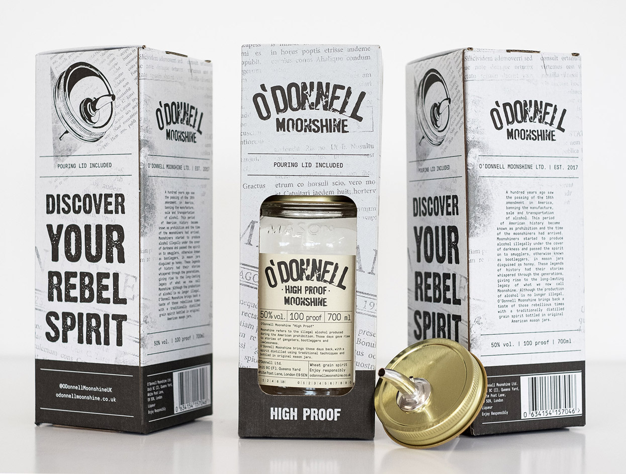 O'Donnell Moonshine Limited Packaging High Proof